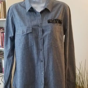 Women's J. Crew Button Down Denim Jean Beaded Top